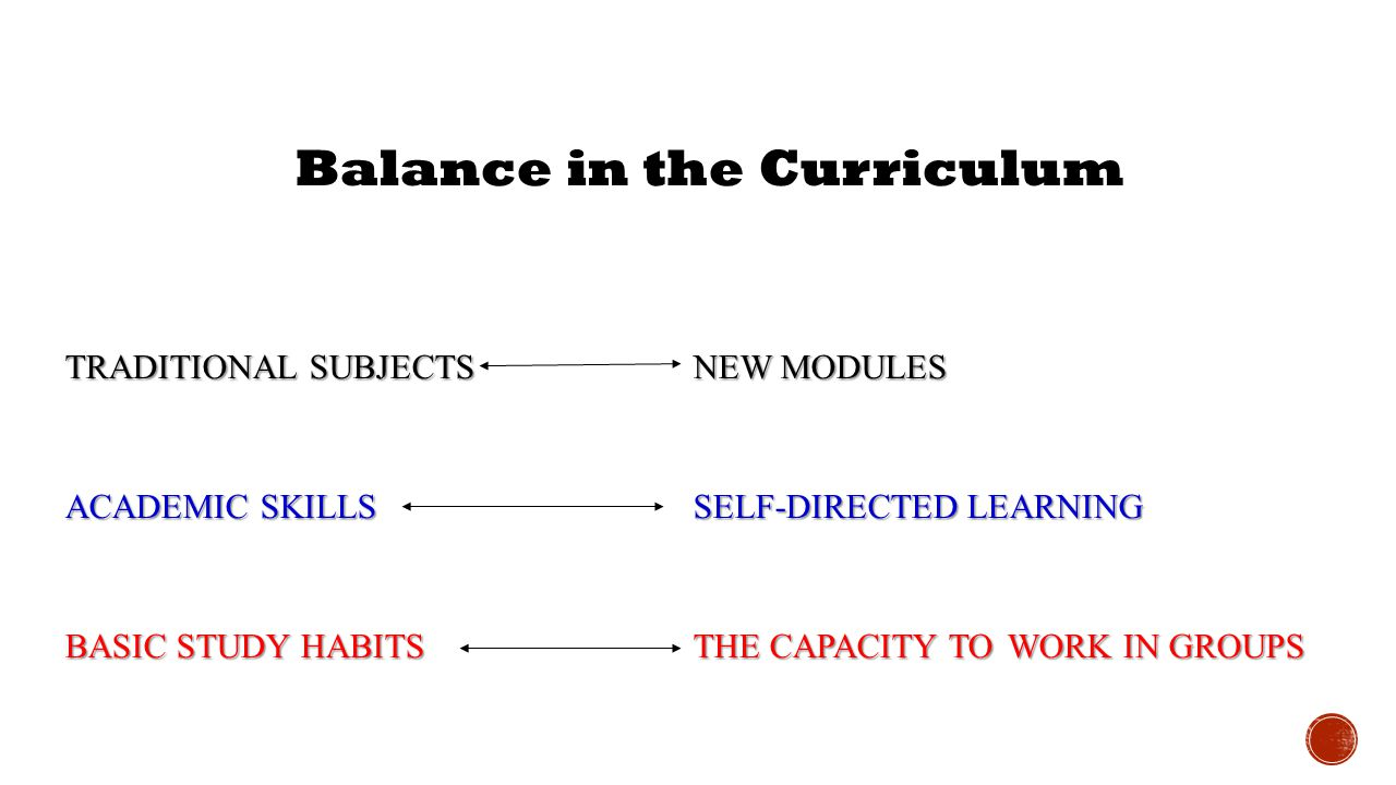Balance in the Curriculum