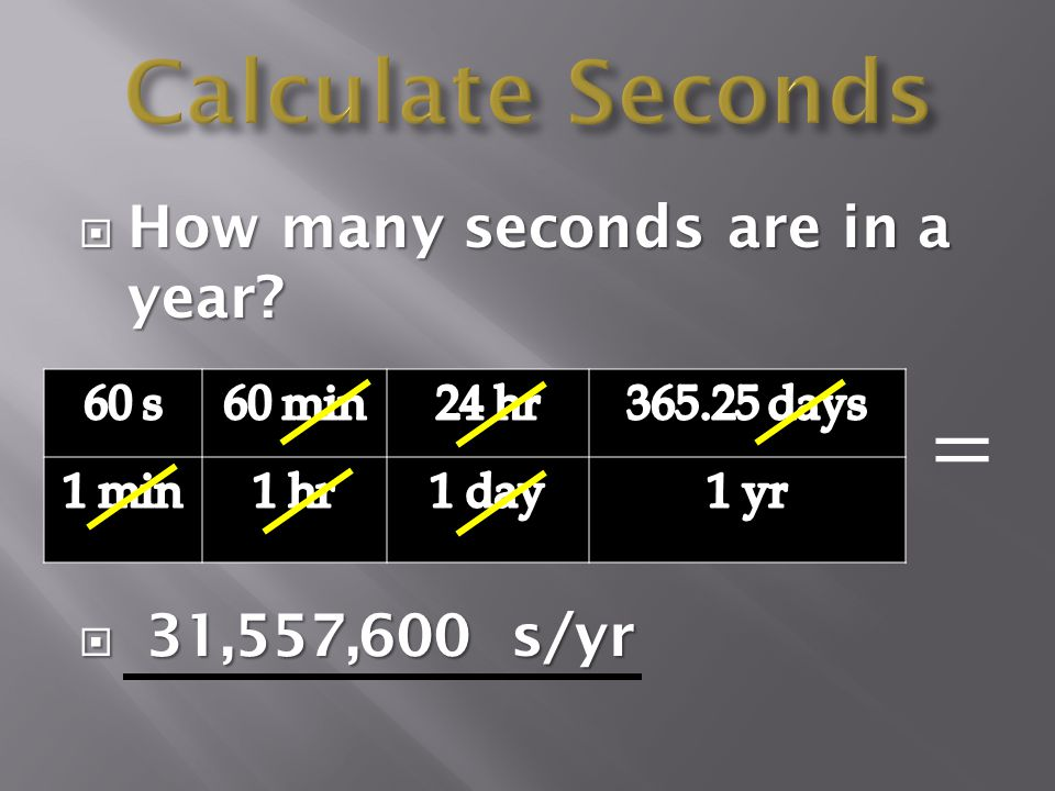 Calculate Seconds = How many seconds are in a year 31,557,600 s/yr