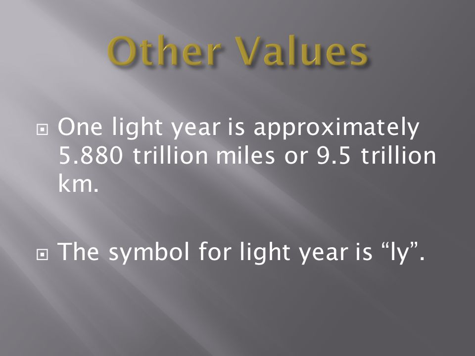 Other Values One light year is approximately 5.880 trillion miles or 9.5 trillion km. The symbol for light year is ly .