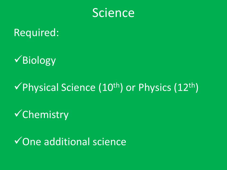 Science Required: Biology Physical Science (10th) or Physics (12th)