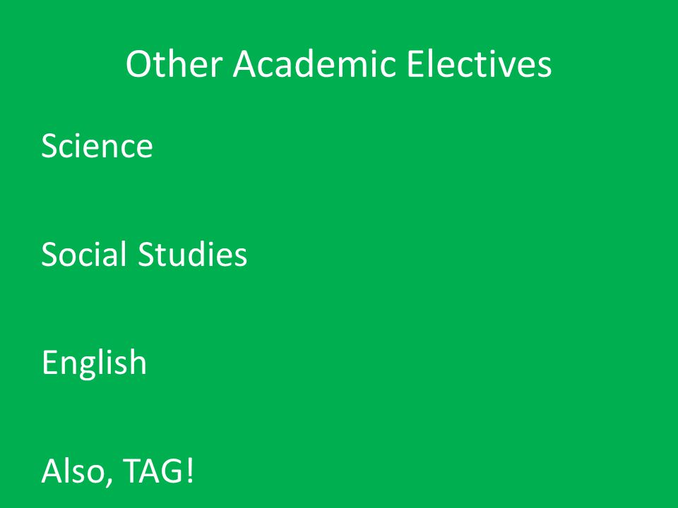 Other Academic Electives