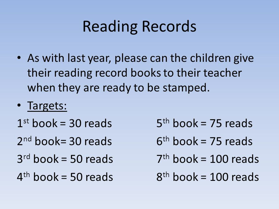 Reading Records As with last year, please can the children give their reading record books to their teacher when they are ready to be stamped.