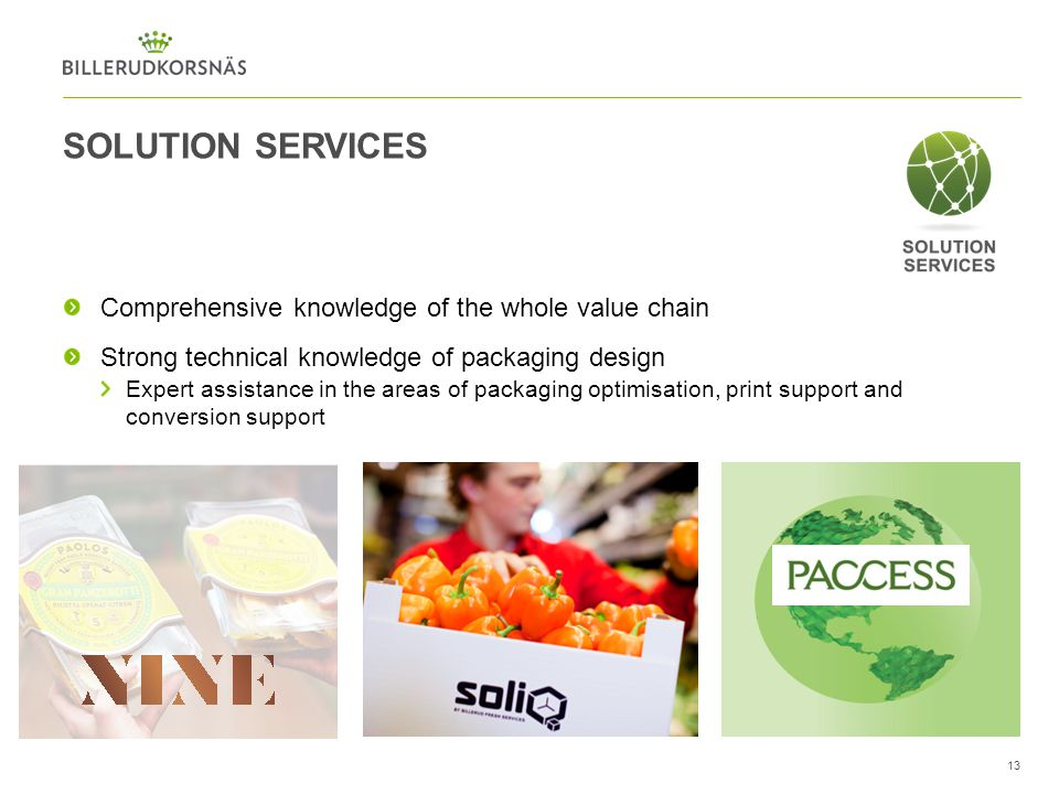 SOLUTION SERVICES Comprehensive knowledge of the whole value chain
