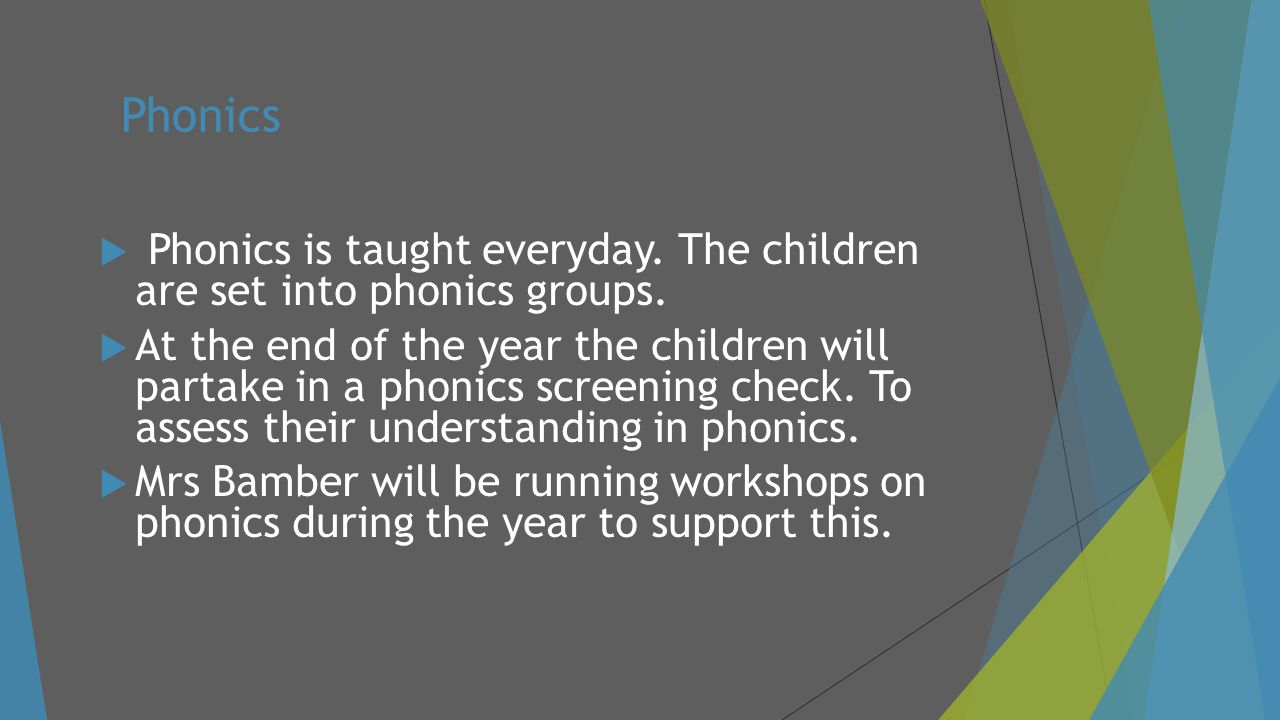 Phonics Phonics is taught everyday. The children are set into phonics groups.