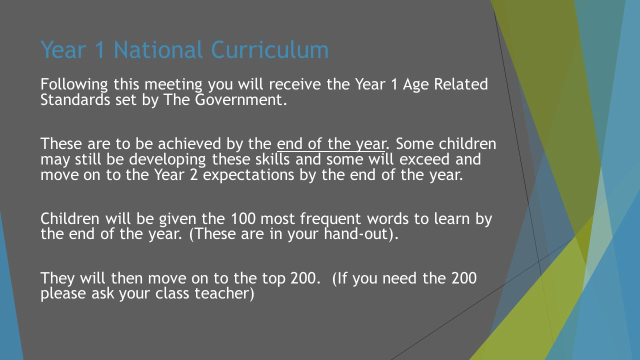 Year 1 National Curriculum