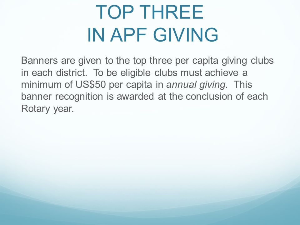 TOP THREE IN APF GIVING