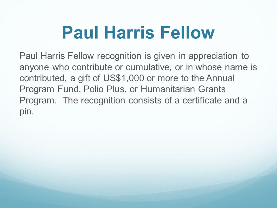 Paul Harris Fellow