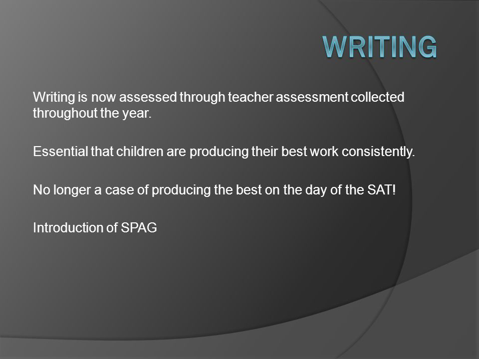 Writing Writing is now assessed through teacher assessment collected throughout the year.