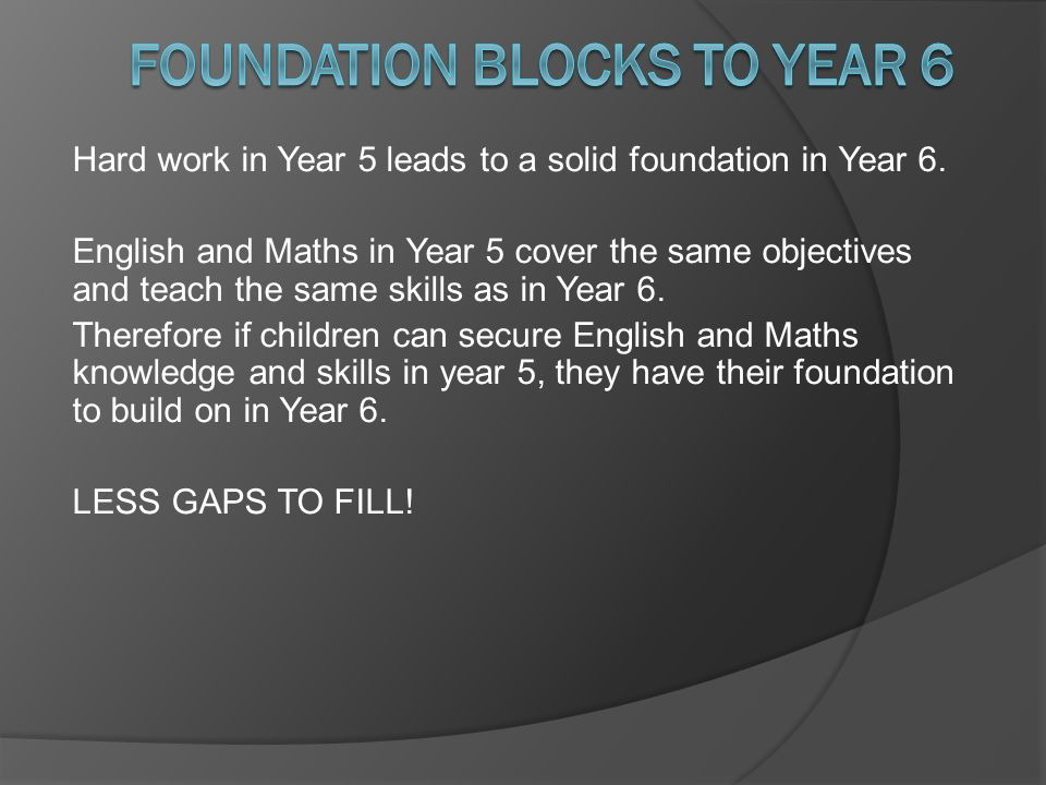 Foundation blocks to Year 6