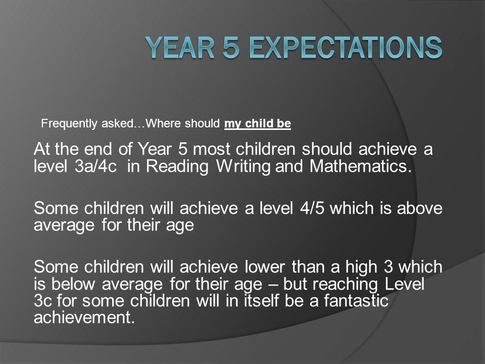 Year 5 Expectations Frequently asked…Where should my child be.
