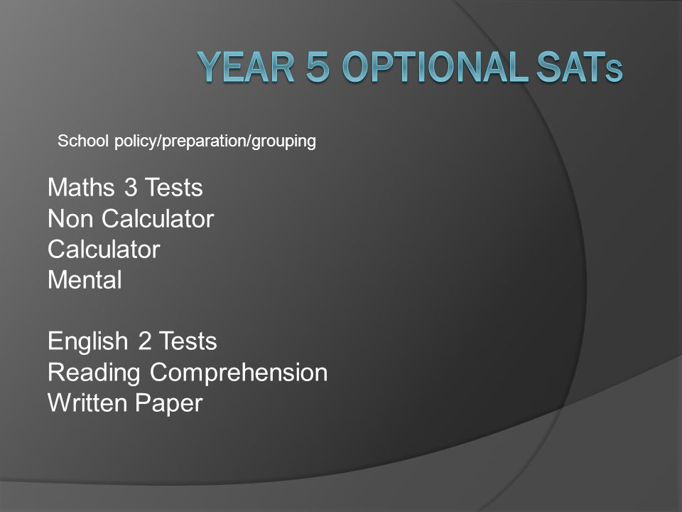 Year 5 optional SATs Maths 3 Tests Non Calculator Calculator Mental