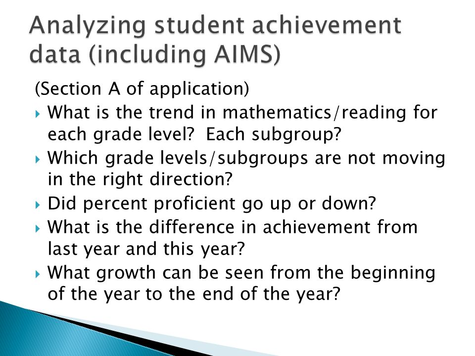 Analyzing student achievement data (including AIMS)