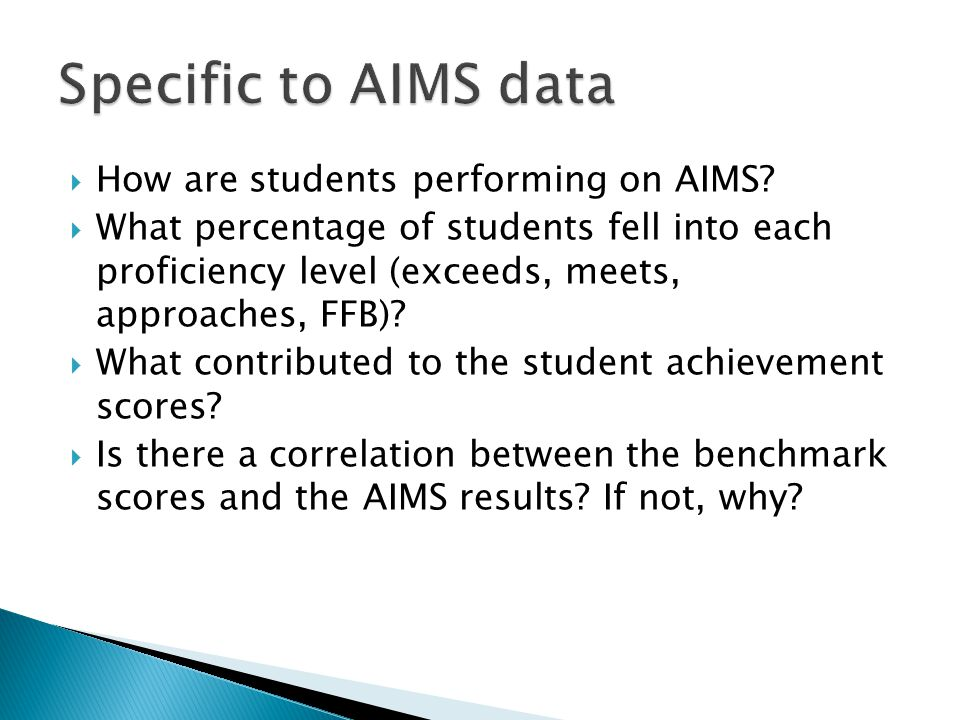 Specific to AIMS data How are students performing on AIMS