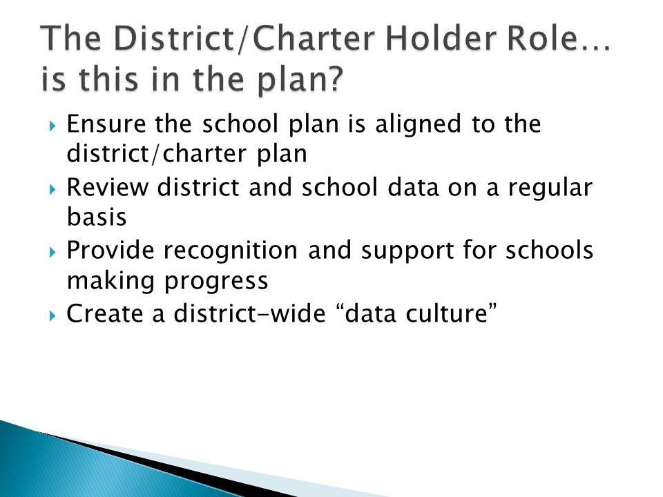 The District/Charter Holder Role… is this in the plan