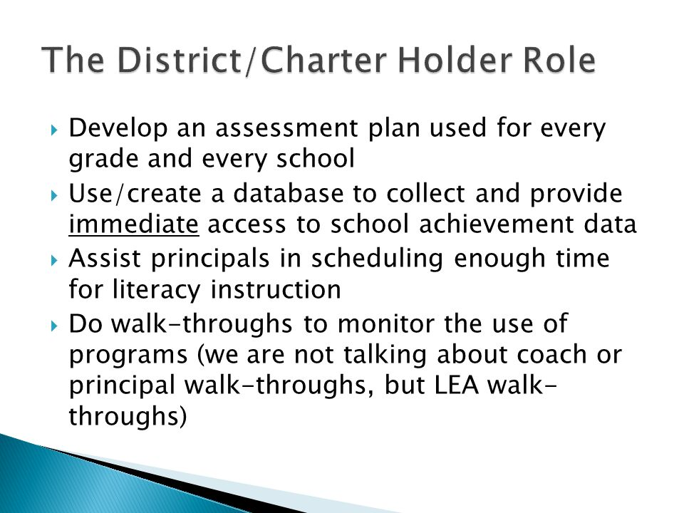 The District/Charter Holder Role