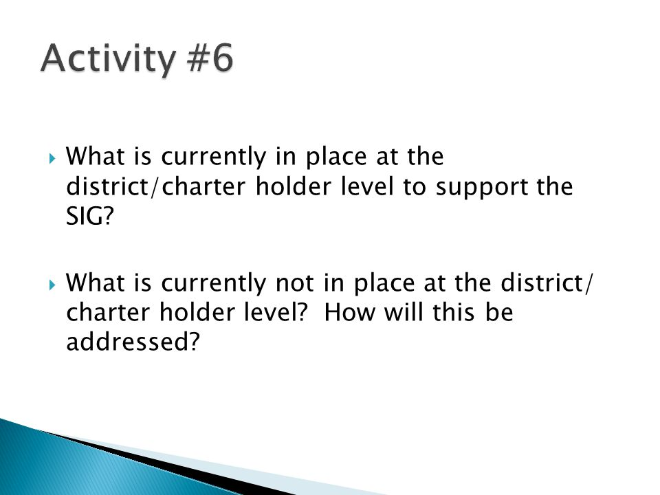 Activity #6 What is currently in place at the district/charter holder level to support the SIG