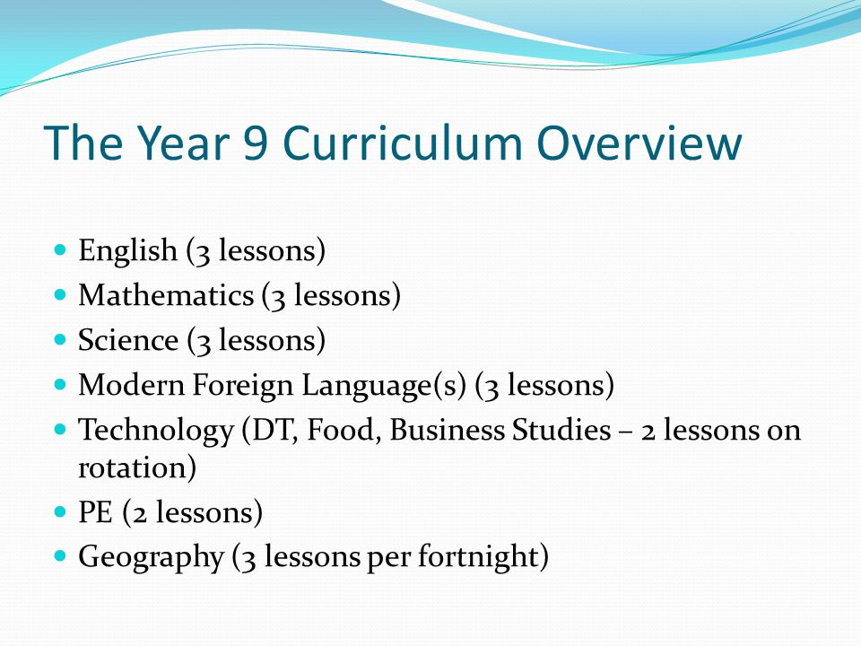 The Year 9 Curriculum Overview