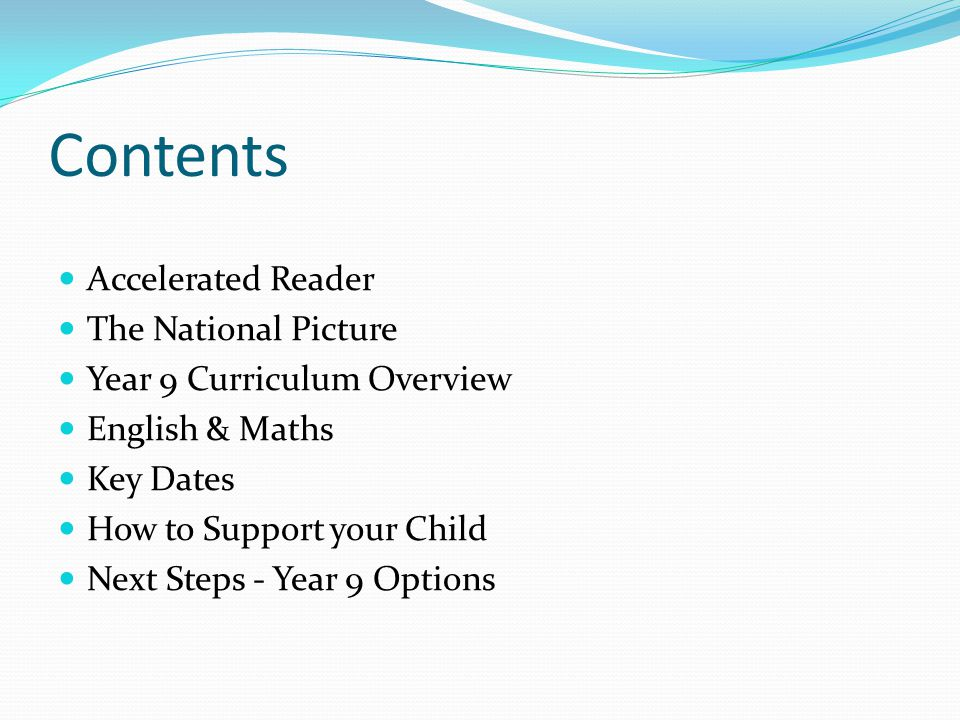 Contents Accelerated Reader The National Picture