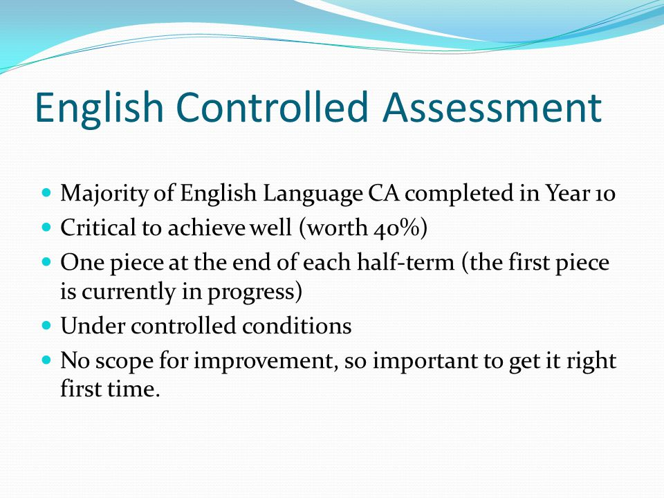 English Controlled Assessment