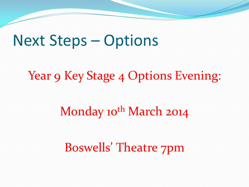 Year 9 Key Stage 4 Options Evening:
