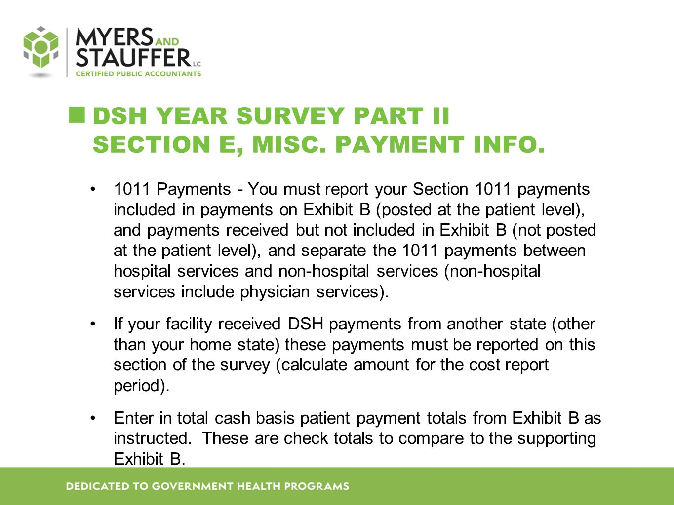 DSH Year SURVEY Part II Section E, Misc. Payment Info.