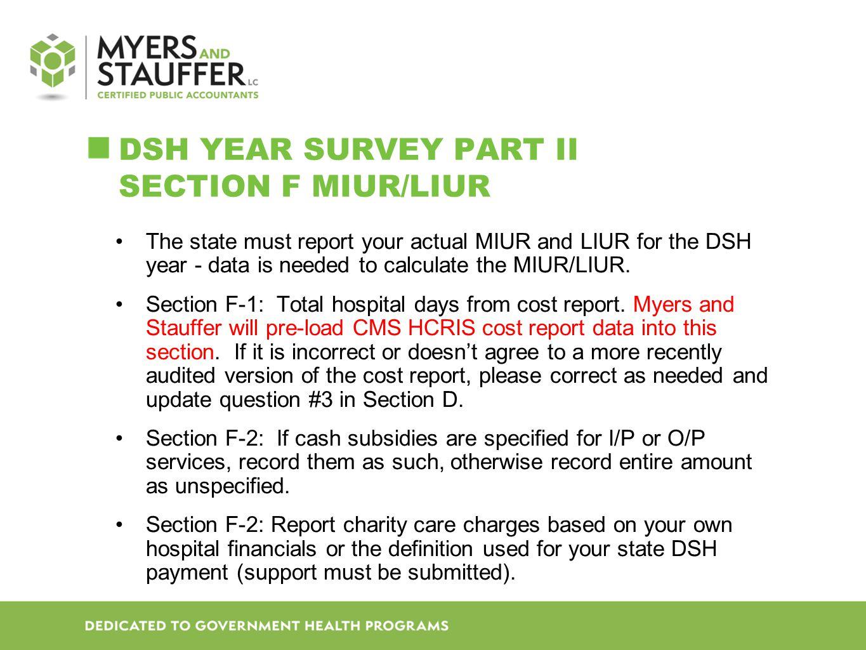 DSH Year SURVEY Part II Section F MIUR/LIUR