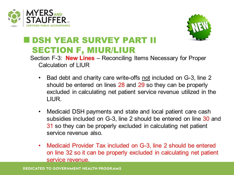 DSH Year SURVEY Part II Section F, MIUR/LIUR