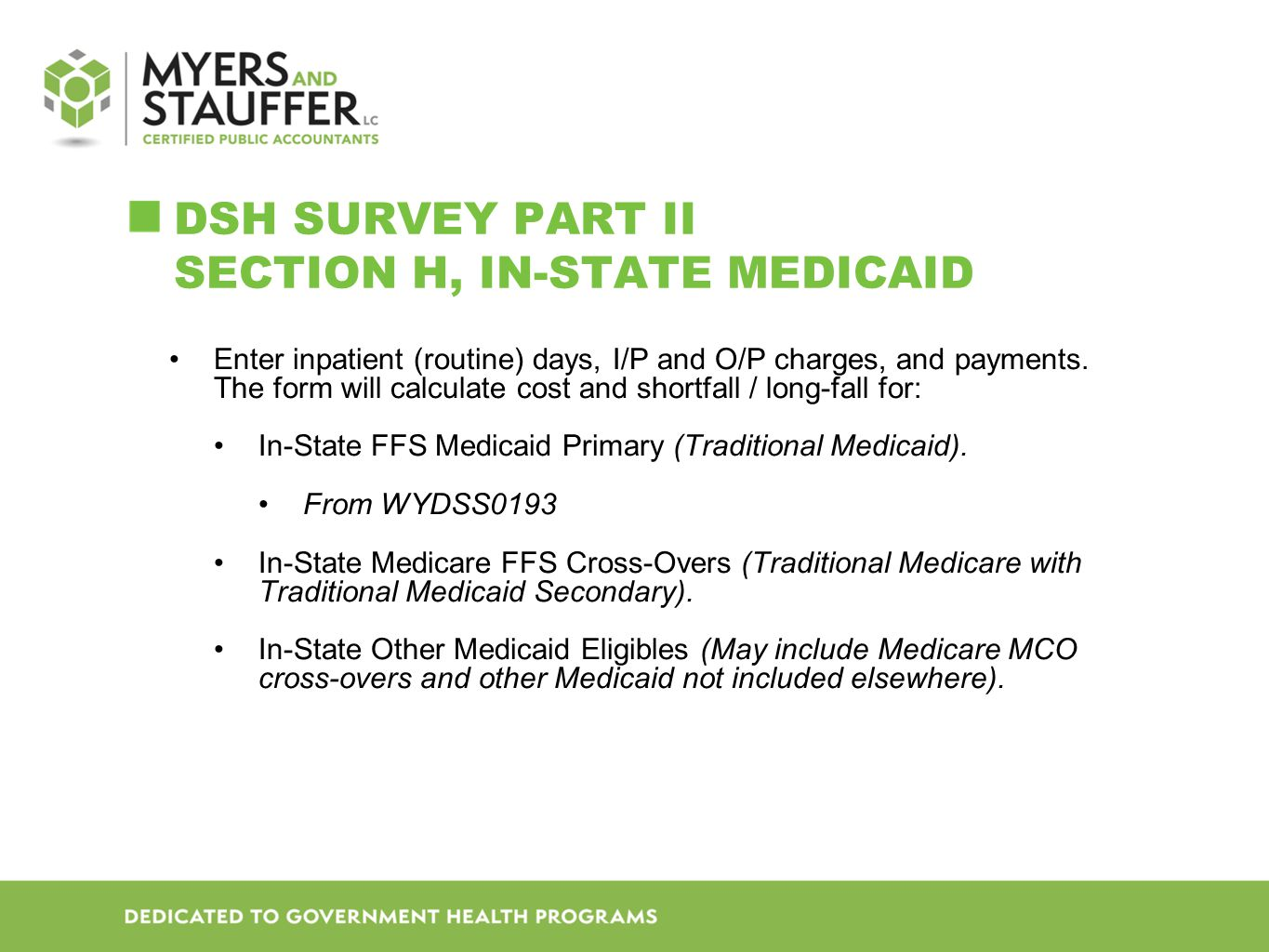 DSH SURVEY Part II Section H, In-state Medicaid