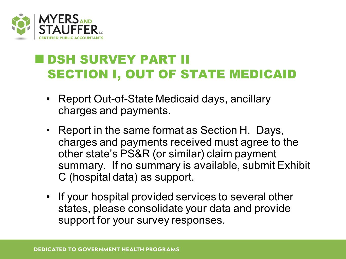 DSH SURVEY Part II Section I, Out of State Medicaid