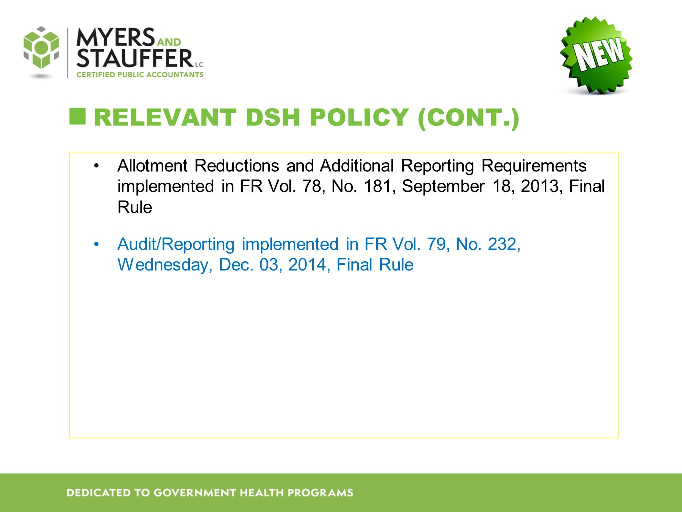 ReLevant DSH Policy (cont.)