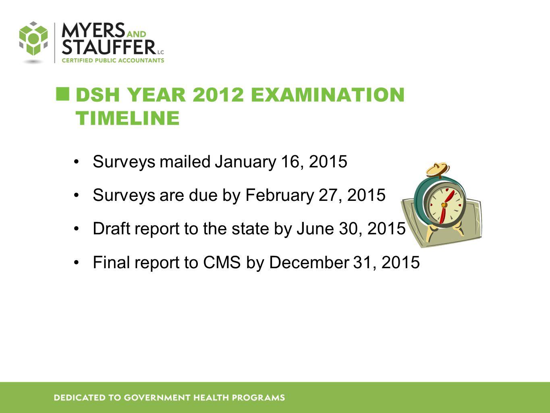 DSH Year 2012 Examination Timeline