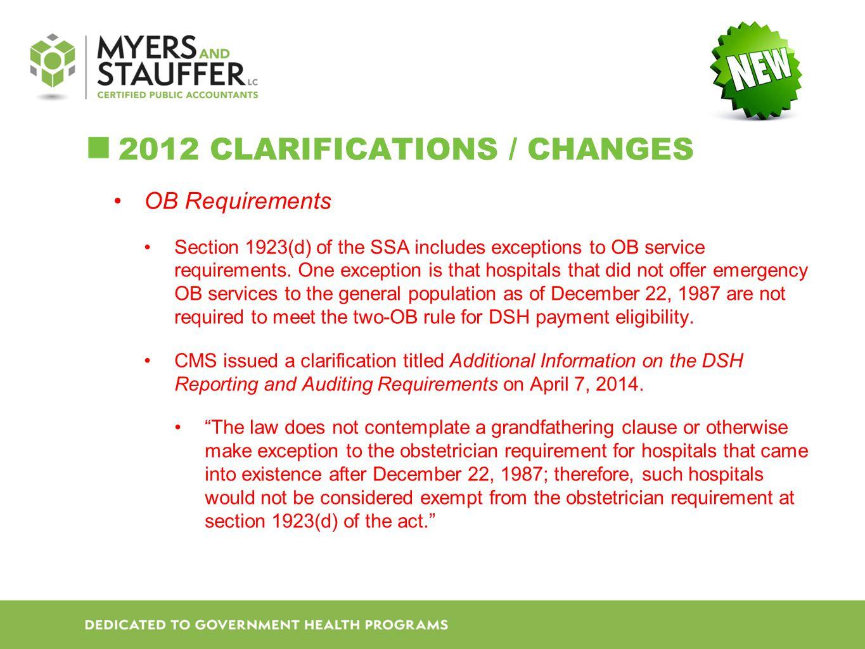 2012 Clarifications / Changes