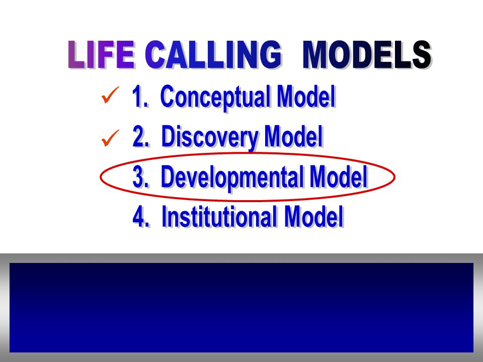 LIFE CALLING MODELS 1. Conceptual Model. 2. Discovery Model.