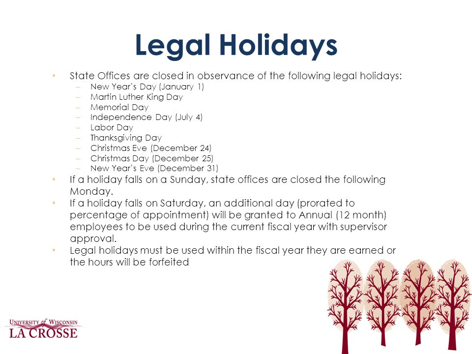 Legal Holidays State Offices are closed in observance of the following legal holidays: New Year's Day (January 1)