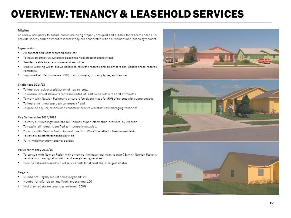 OVERVIEW: TENANCY & LEASEHOLD SERVICES
