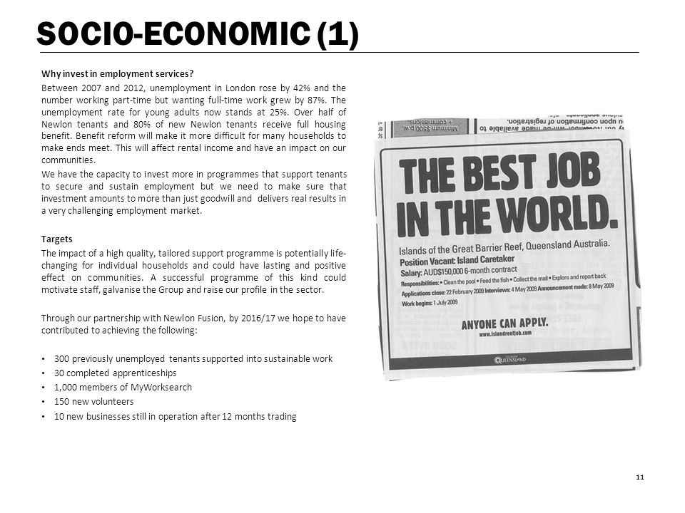 SOCIO-ECONOMIC (1) Why invest in employment services