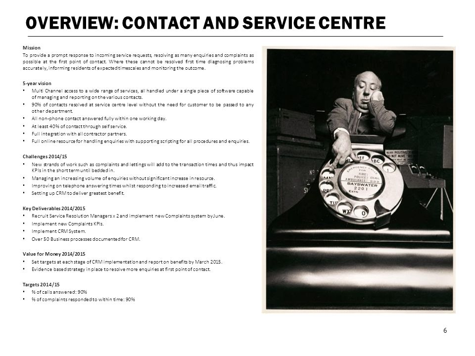 OVERVIEW: CONTACT AND SERVICE CENTRE