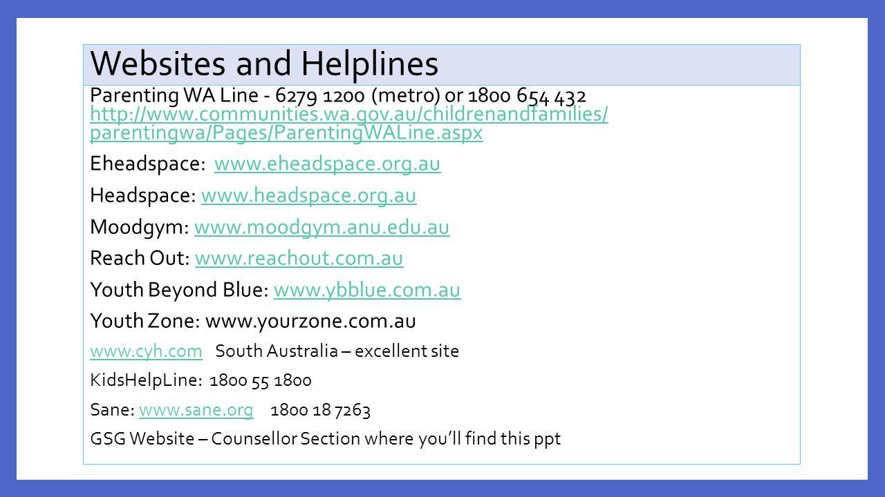 Websites and Helplines