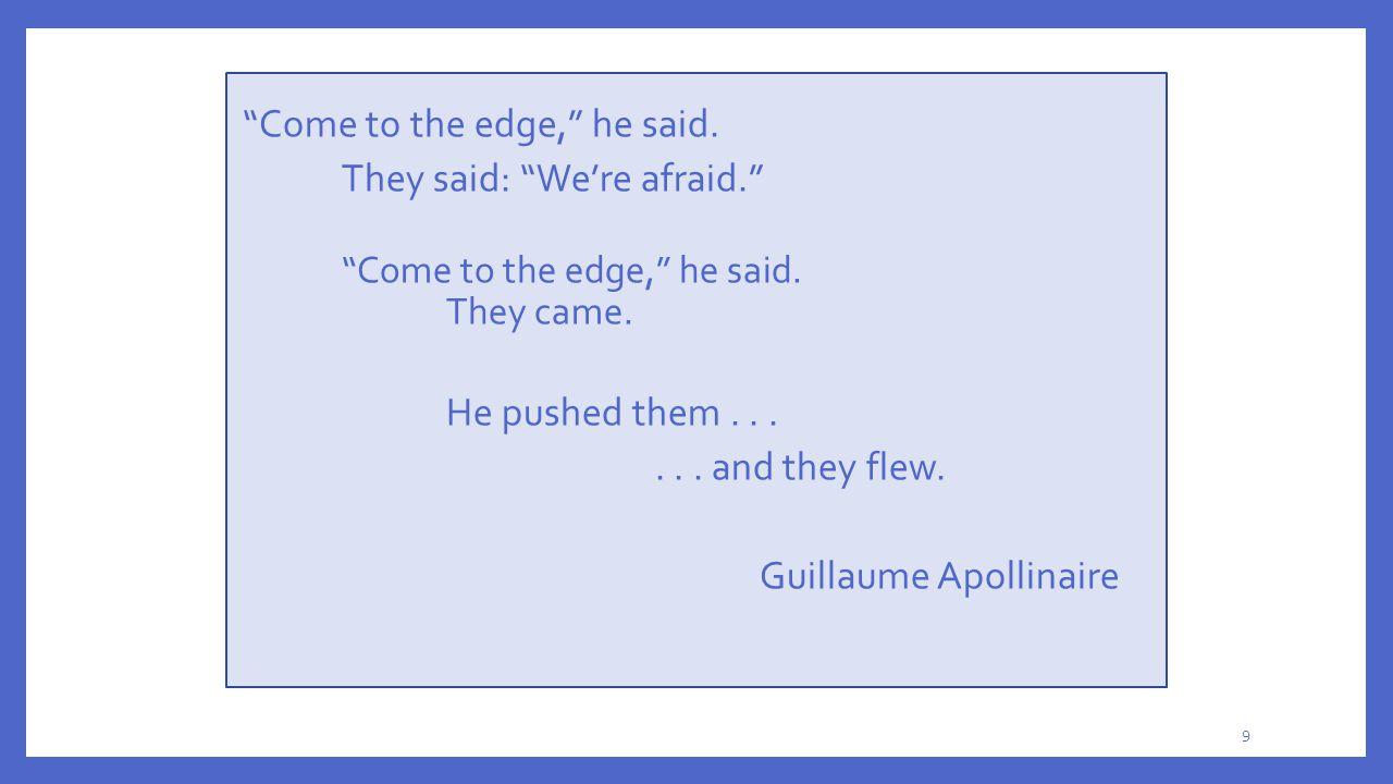Come to the edge, he said. They said: We're afraid.
