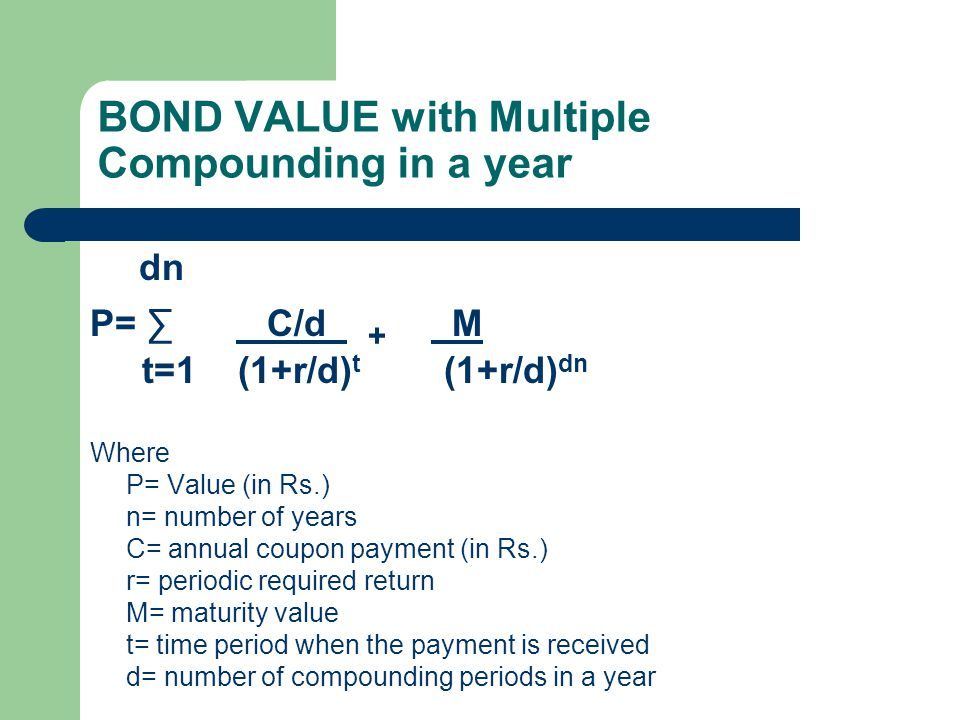 BOND VALUE with Multiple Compounding in a year