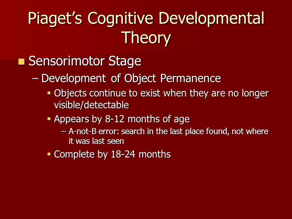 Piaget's Cognitive Developmental Theory