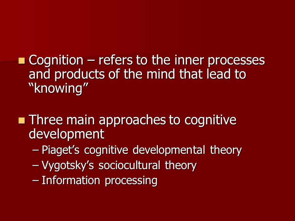Three main approaches to cognitive development