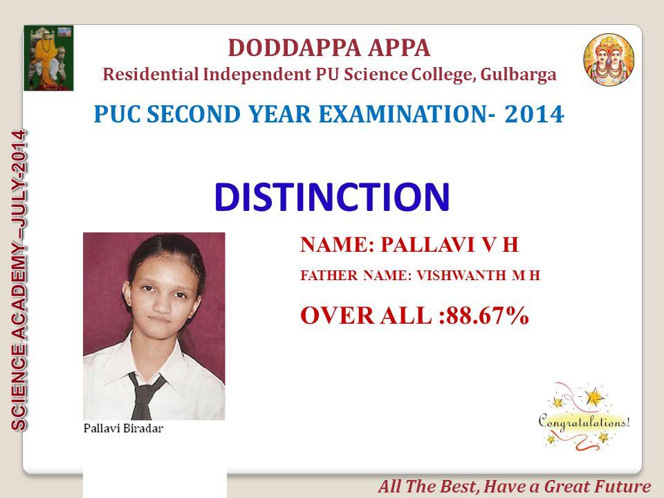 DISTINCTION DODDAPPA APPA PUC SECOND YEAR EXAMINATION- 2014
