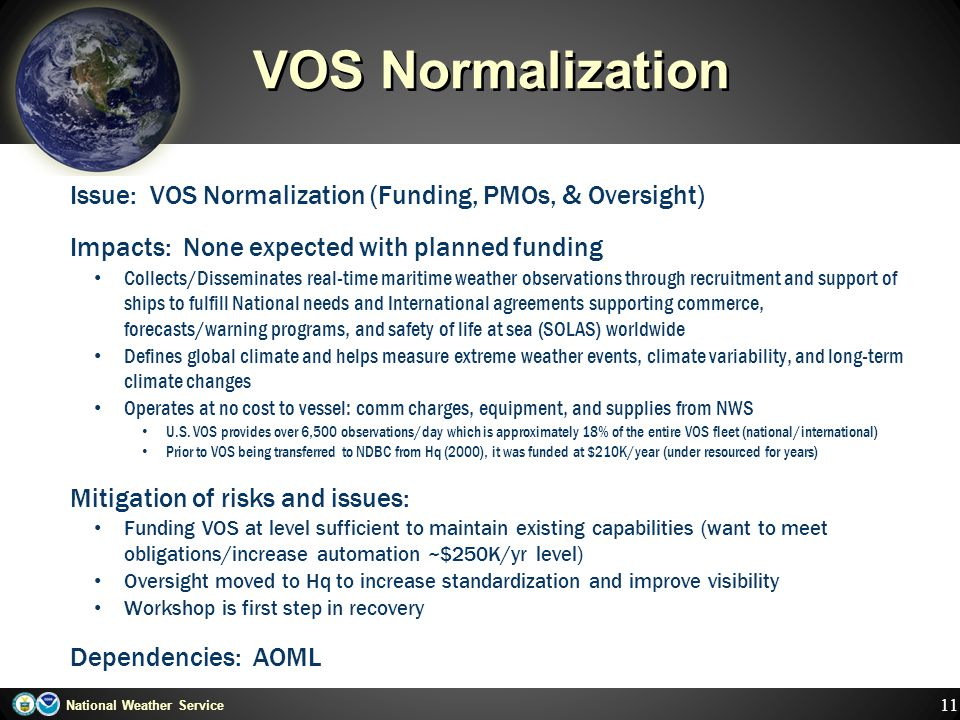 VOS Normalization Issue: VOS Normalization (Funding, PMOs, & Oversight) Impacts: None expected with planned funding.