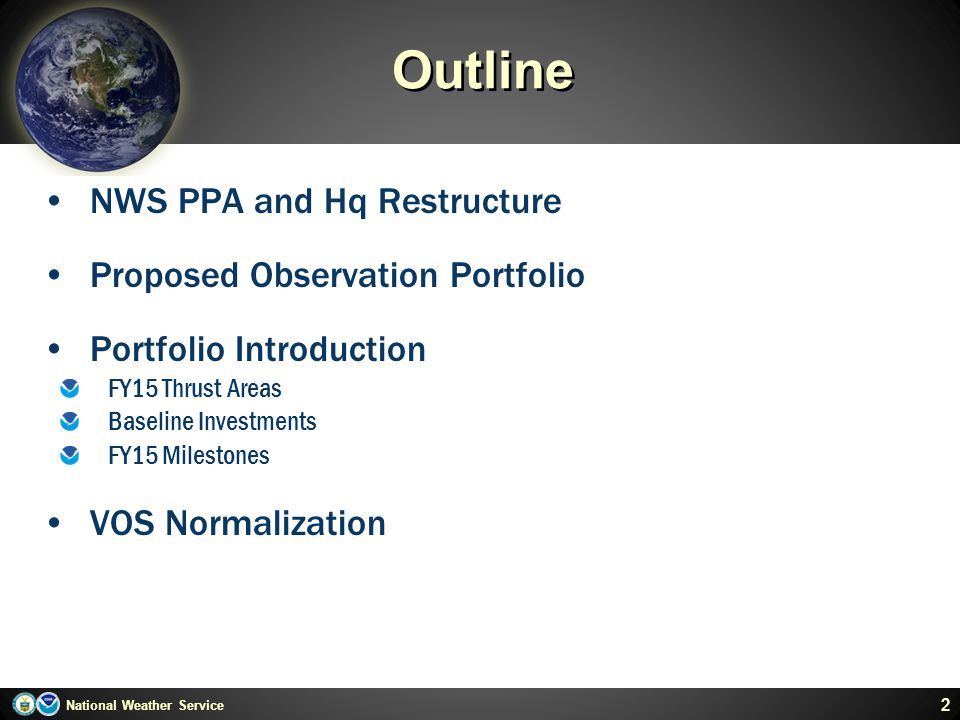 Outline NWS PPA and Hq Restructure Proposed Observation Portfolio