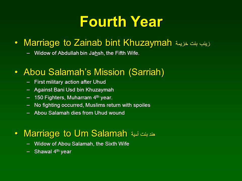 Fourth Year Marriage to Zainab bint Khuzaymah زينب بنت خزيمة