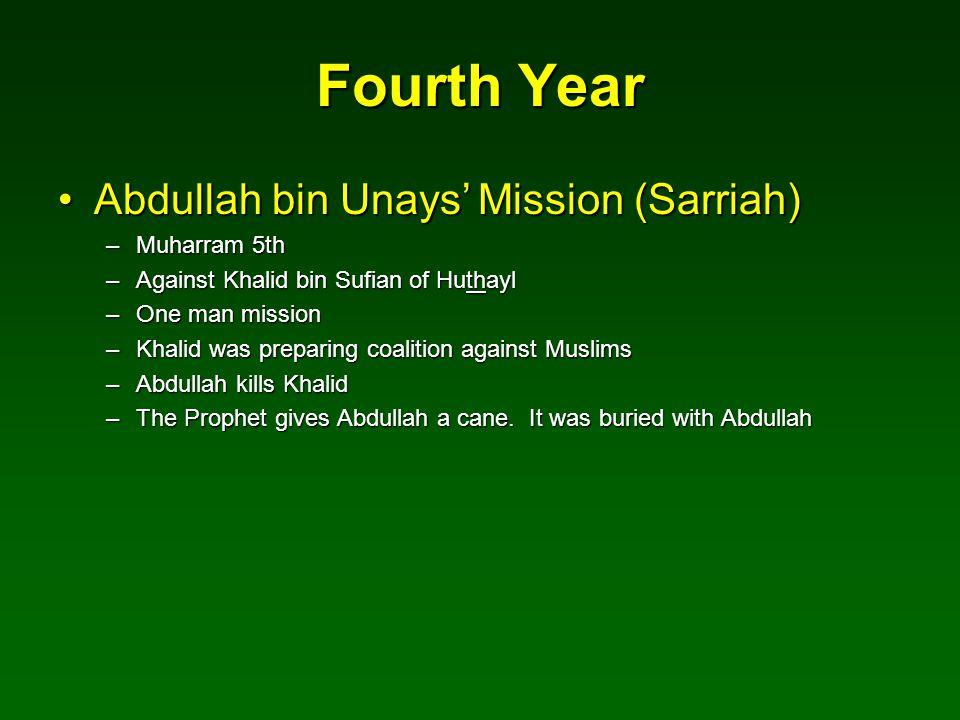 Fourth Year Abdullah bin Unays' Mission (Sarriah) Muharram 5th