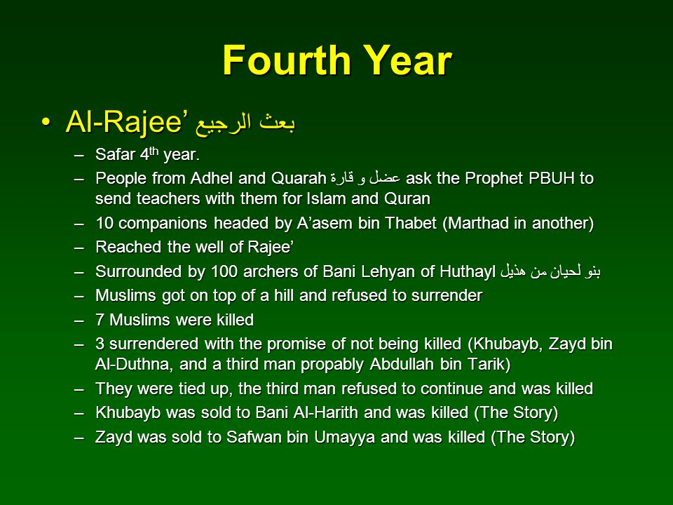 Fourth Year Al-Rajee' بعث الرجيع Safar 4th year.