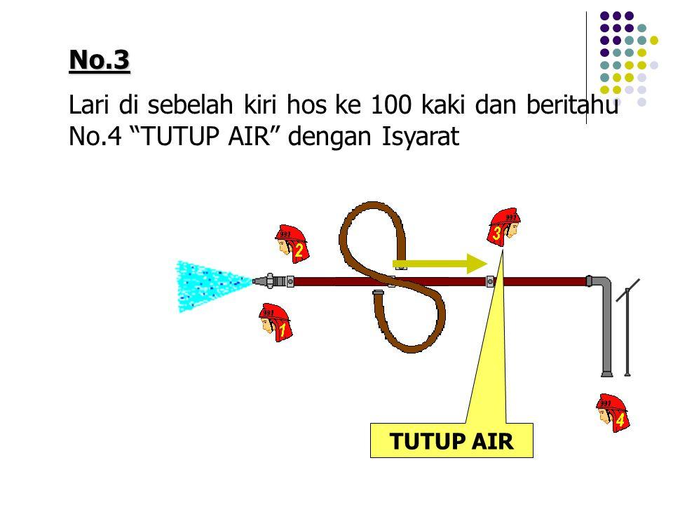 No.3 Lari di sebelah kiri hos ke 100 kaki dan beritahu No.4 TUTUP AIR dengan Isyarat TUTUP AIR