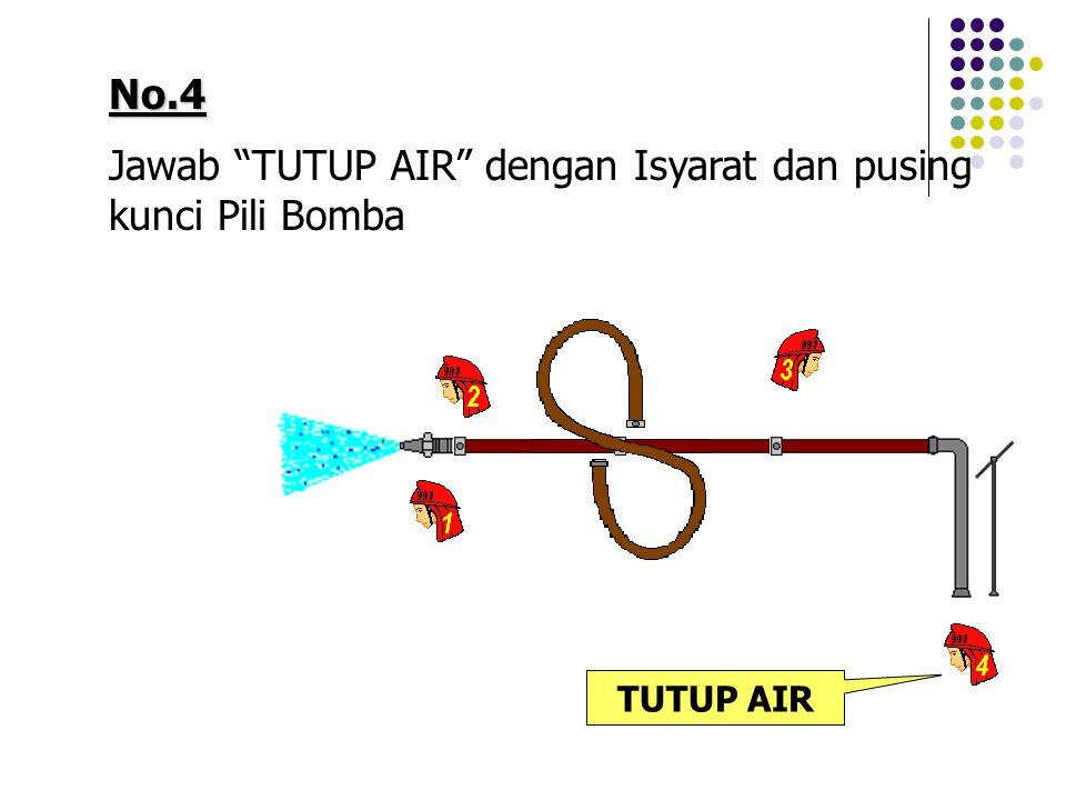 Jawab TUTUP AIR dengan Isyarat dan pusing kunci Pili Bomba